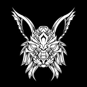 Ilustração de arte de linha abstrata de gato lynx