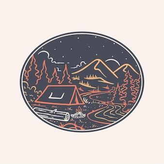 Ilustração de arte de linha de acampamento à noite