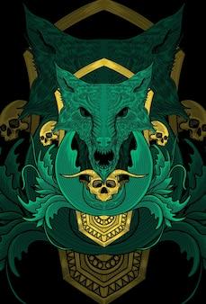 Ilustração de arte de lobo com ornamento