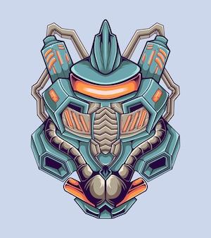 Ilustração de arte de lutador robótico