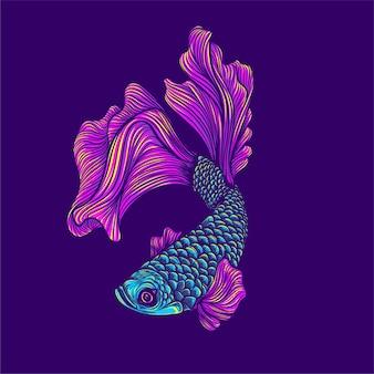 Ilustração de arte de peixes coloridos