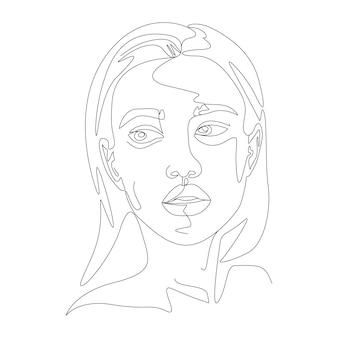 Ilustração de arte de rosto feminino em estilo minimalista