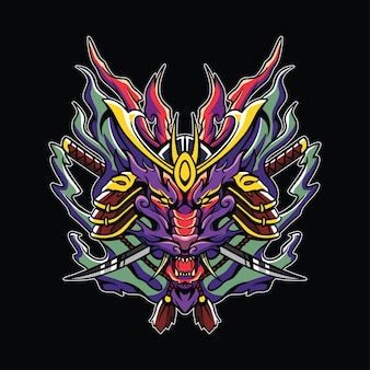 Ilustração de arte de samurai do head dragon fire