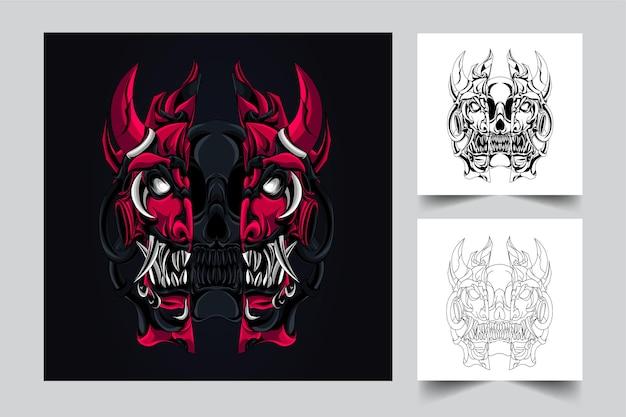 Ilustração de arte de terror satanás