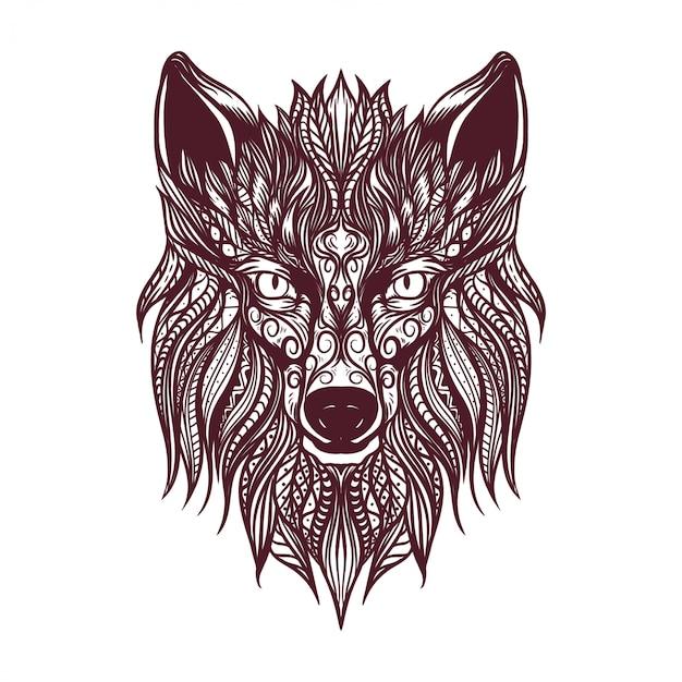 Ilustração de arte decorativa cabeça de lobo