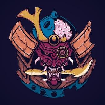 Ilustração de arte demoníaca de samurai japonês