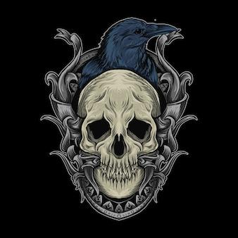 Ilustração de arte e caveira e corvo em ornamento de gravura