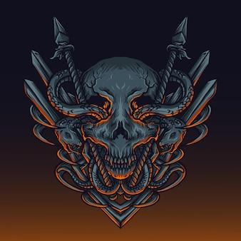 Ilustração de arte e desenho de camiseta com lança crânio e cobra gravura ornamento