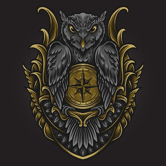 Ilustração de arte e desenho de camiseta coruja com ornamento de bússola