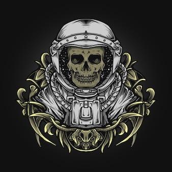 Ilustração de arte e desenho de camiseta crânio de astronauta