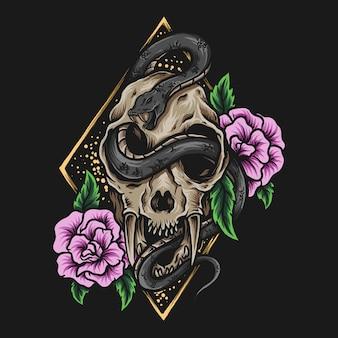 Ilustração de arte e desenho de camiseta crânio de tigre e ornamento de gravura de rosa de cobra