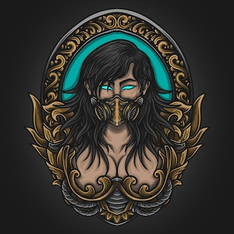 Ilustração de arte e design de camiseta beleza mulheres máscara de gás em ornamento de gravura