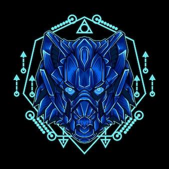 Ilustração de arte e robô lobo verde com geometria sagrada