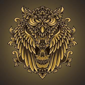Ilustração de arte e t-shirt coruja e ornamento de gravura em crânio