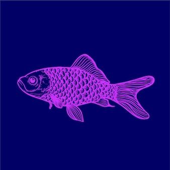 Ilustração de arte em escala de peixes