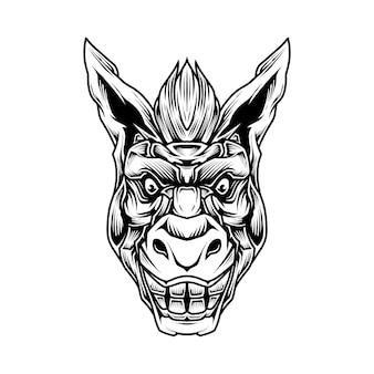 Ilustração de arte em linha de burro