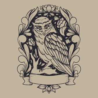Ilustração de arte em linha de coruja mítica