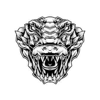 Ilustração de arte em linha de crocodilo
