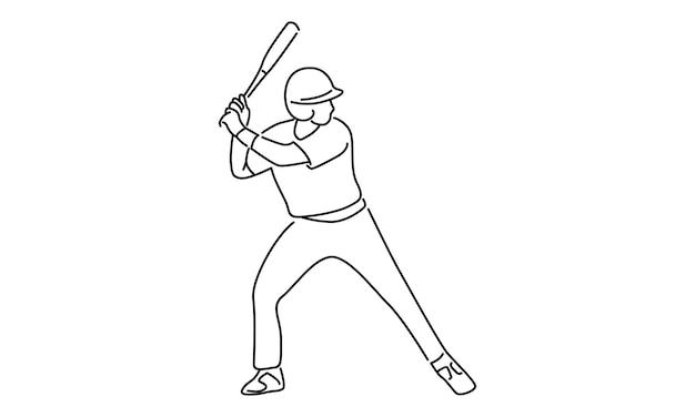 Ilustração de arte em linha de jogador de beisebol