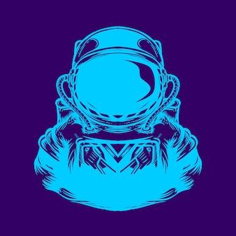 Ilustração de arte em néon de astronauta
