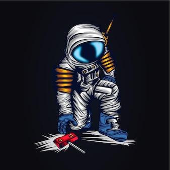 Ilustração de arte espacial de astronauta