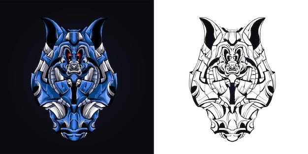 Ilustração de arte mecha raposa