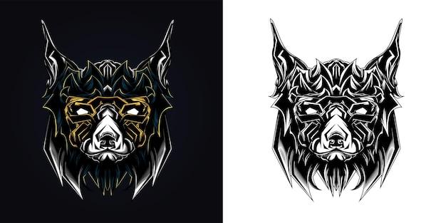 Ilustração de arte ornamental de cachorro