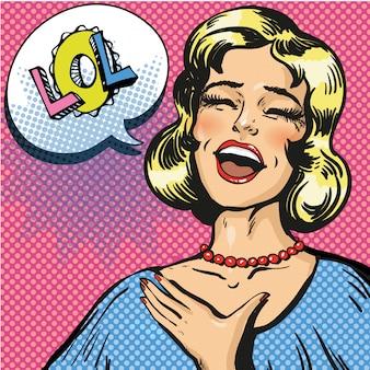 Ilustração de arte pop de rir em voz alta mulher