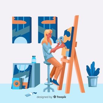 Ilustração de artistas no trabalho