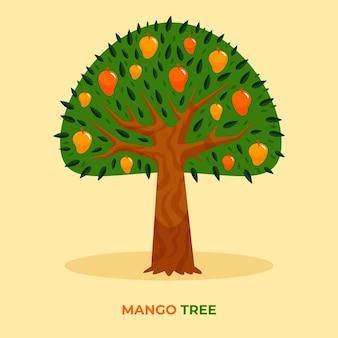Ilustração de árvore de manga em design plano