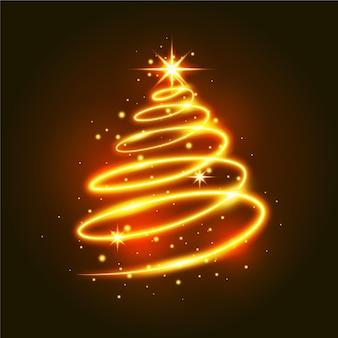 Ilustração de árvore de natal com trilha leve