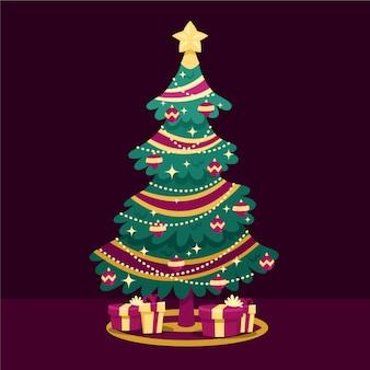 Ilustração de árvore de natal de design plano