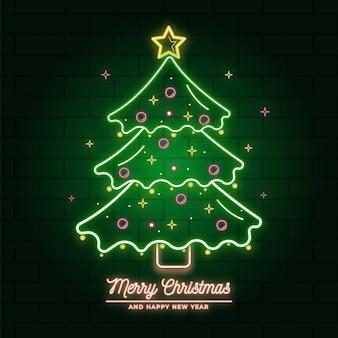 Ilustração de árvore de natal de néon