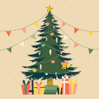 Ilustração de árvore de natal vintage