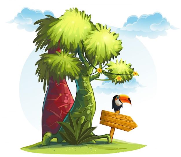 Ilustração de árvores da selva com ponteiro de madeira e pássaro tucano