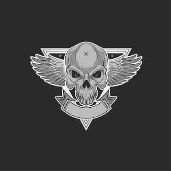 Ilustração de asas de motocicleta de crânio
