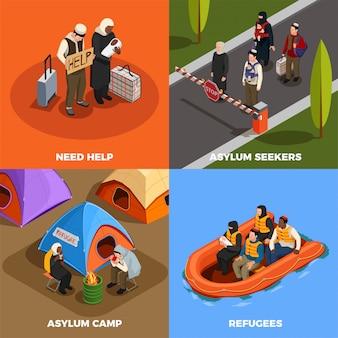 Ilustração de asilo de refugiados apátridas