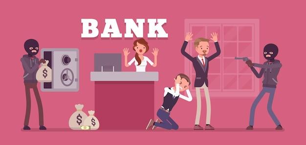 Ilustração de assalto a banco por criminosos mascarados