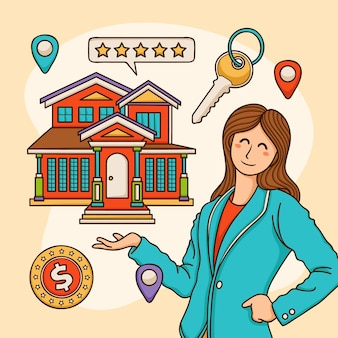 Ilustração de assistência a corretor de imóveis