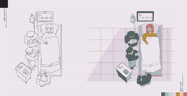 Ilustração de assistência médica na versão monótona e cor de contorno. médicos e enfermeiros estão se curando em uma situação séria. ilustração estilo desenhado à mão.