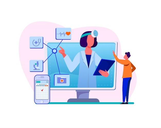 Ilustração de assistência médica on-line