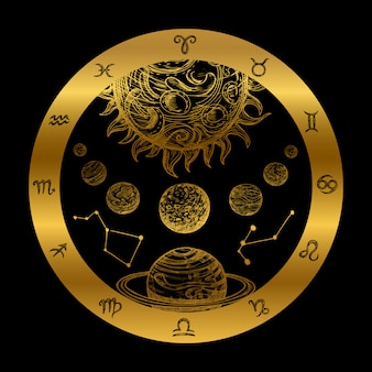 Ilustração de astrologia dourada
