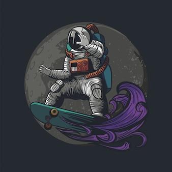 Ilustração de astronauta, cosmonauta pagando skate e esporte no espaço com roupa de astronauta
