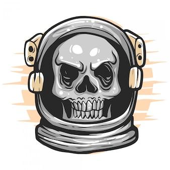 Ilustração de astronauta de caveira
