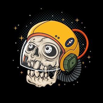 Ilustração de astronauta de crânio