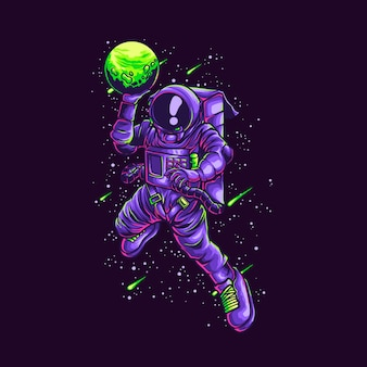 Ilustração de astronauta de slamdunk