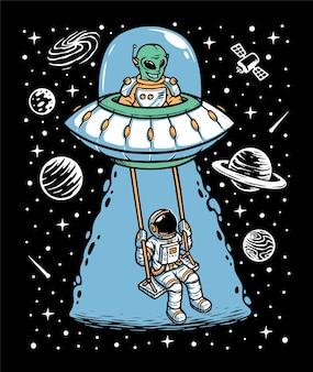 Ilustração de astronauta e alienígena brincando juntos