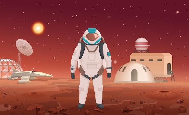 Ilustração de astronauta em traje espacial em pé na colônia no planeta.