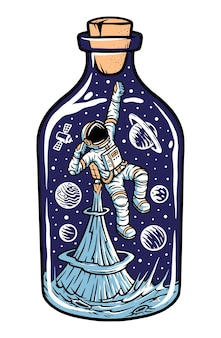 Ilustração de astronauta em uma garrafa