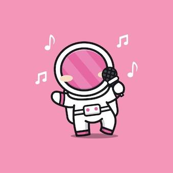 Ilustração de astronauta fofo cantando uma música